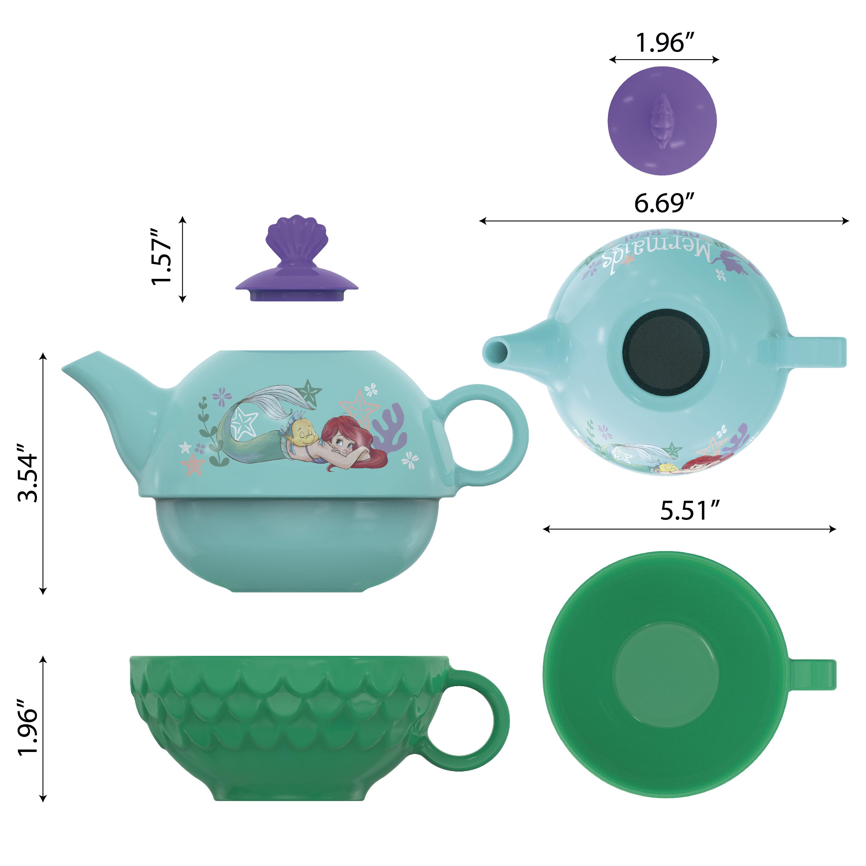 Disney The Little Mermaid Sculpted Ceramic Tea Set, Princess Ariel, 4-piece set slideshow image 3