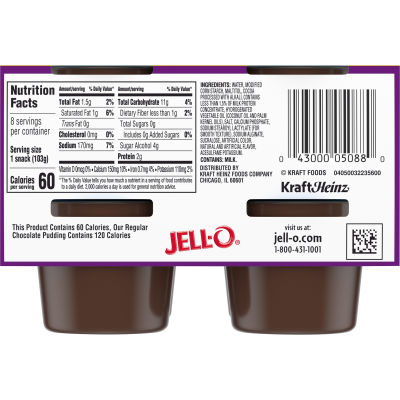 Jell-O Chocolate Sugar Free Pudding Snack, 29 oz Sleeve