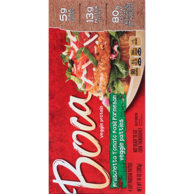 Boca Bruschetta Tomato Basil Parmesan Veggie Patties 4 count Box