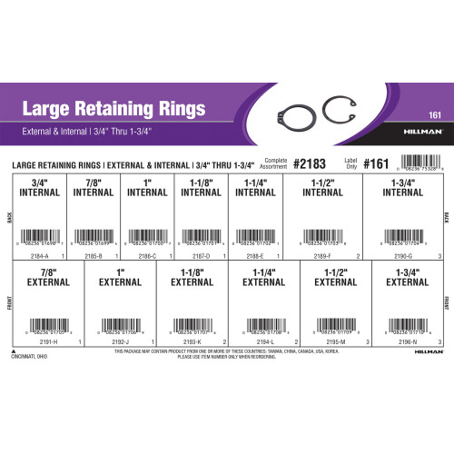 Large External & Internal Retaining Rings Assortment (3/4