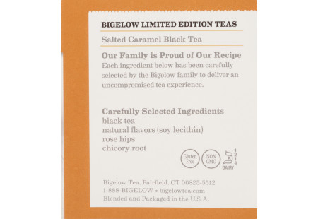 Ingredient panel of Salted Caramel Black Tea box