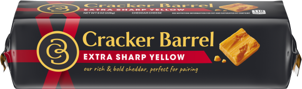 Cracker Barrel Extra Sharp Cheddar Cheese Chunk 8 oz Wrapper