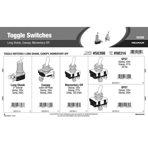 Toggle Switches Assortment (Long Shank, Canopy, Momentary Off)