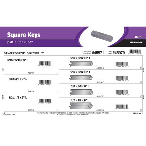 Zinc Long Square Keys Assortment (5/16