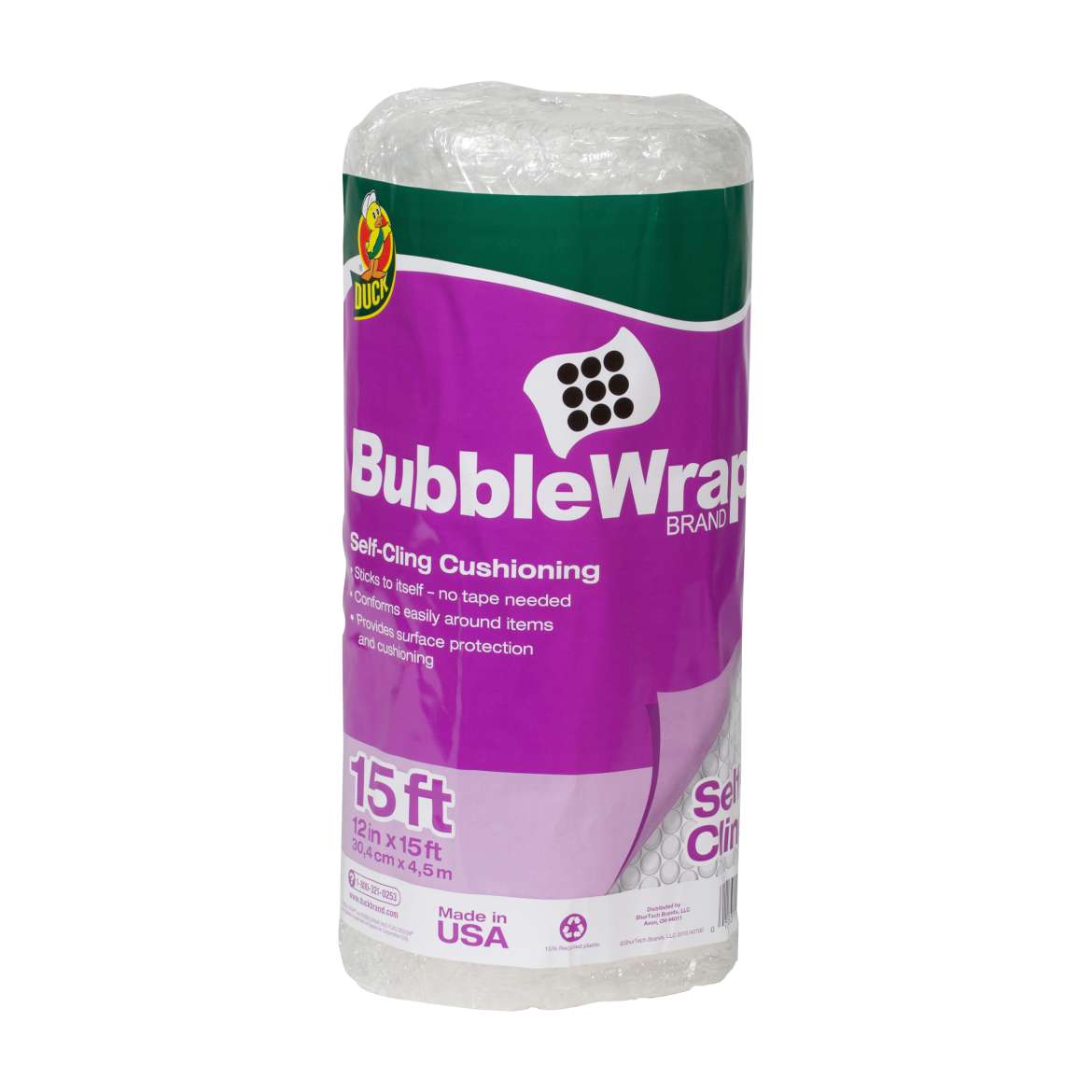 Self-Cling Bubble Wrap® Cushioning - Clear, 12 in. x 15 ft. Image