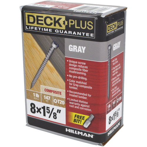 Gray Star-Drive Composite Deck Screw #8 x 1-5/8