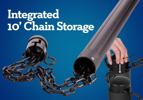 ChainBoss Stanchion - Black Empty with Black Chain 9