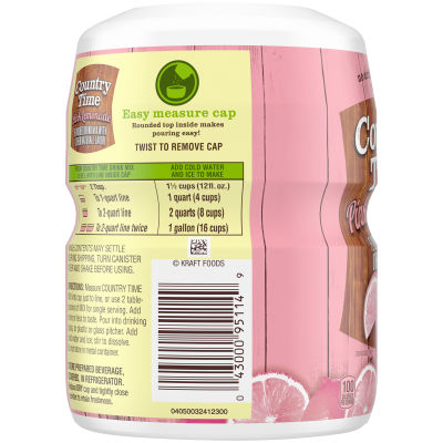 Country Time Pink Lemonade Flavored Powder Drink Mix, 19 oz Canister