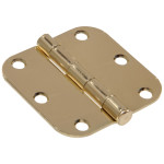 "Hardware Essentials 5/8"" Brass Round Corner Residential Door Hinges with Removable Pin"