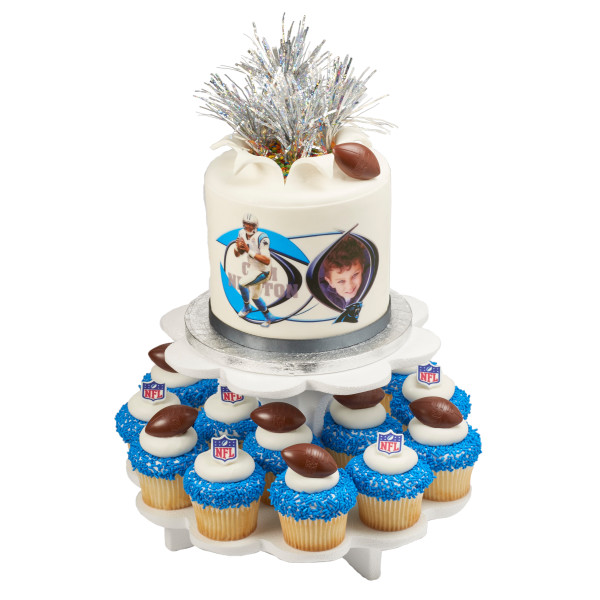 NFL Brown Football with Shield Cupcake Rings