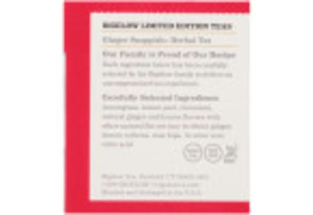 Ingredient panel of Ginger Snappish Herbal Tea box
