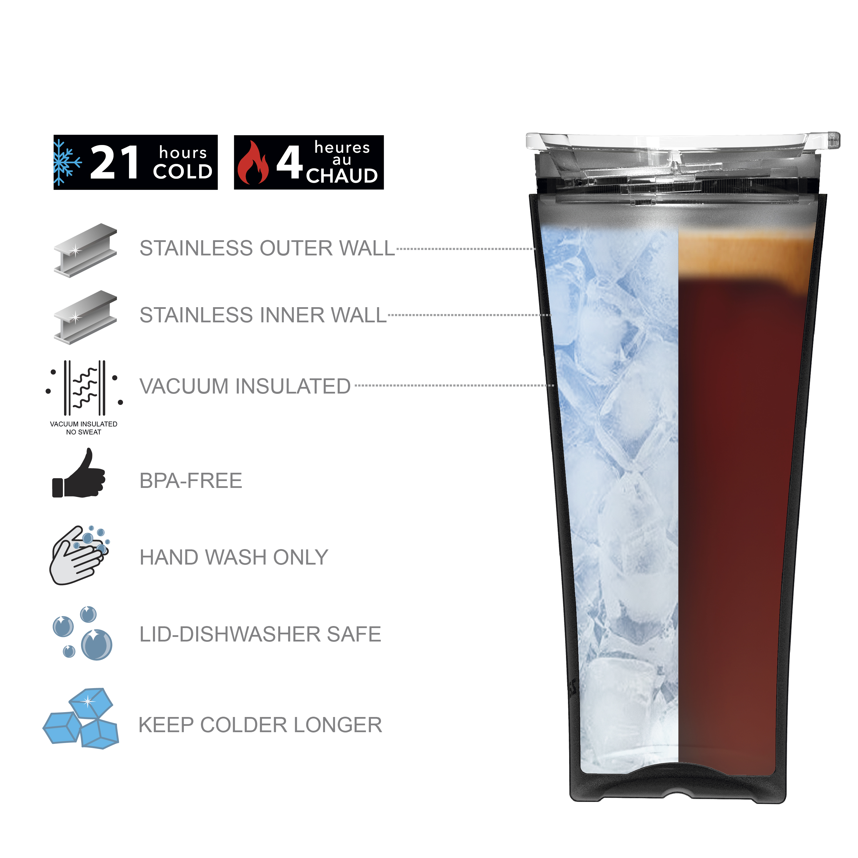 Zak Hydration 30 ounce Vacuum Insulated Stainless Steel Tumbler, Vin Scully, 2-piece set slideshow image 5