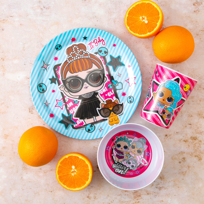 LOL Surprise Kid's Dinnerware Set, Glitter Babies, 3-piece set slideshow image 4