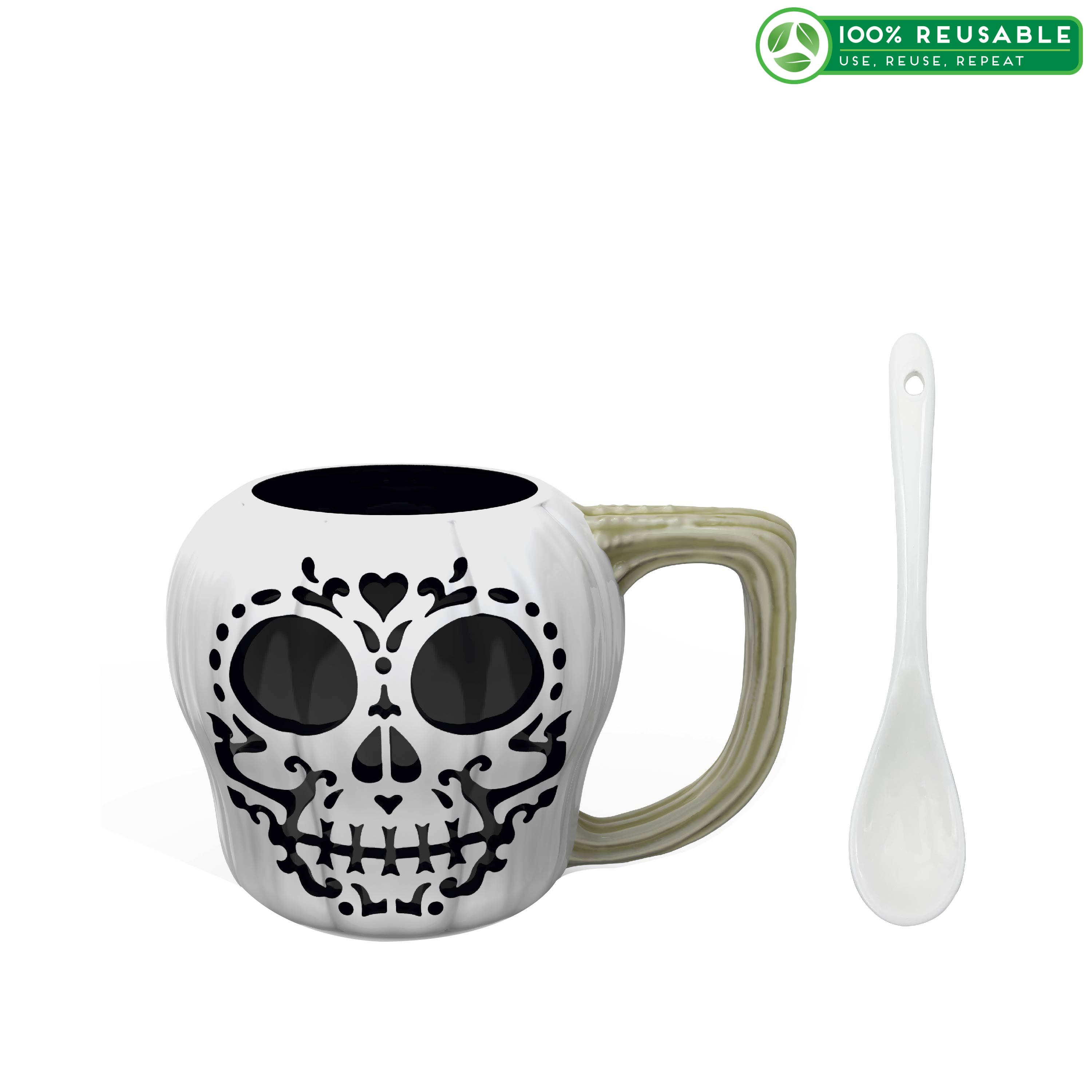 Halloween 15 ounce Coffee Mug and Spoon, Sugar Skull slideshow image 1