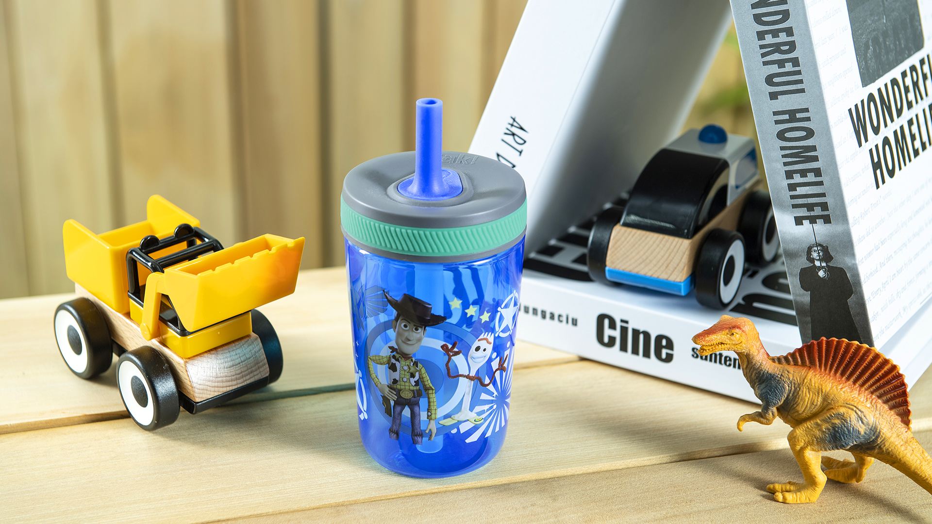 Disney and Pixar 15  ounce Plastic Tumbler with Lid and Straw, Buzz Lightyear and Friends, 2-piece set slideshow image 7