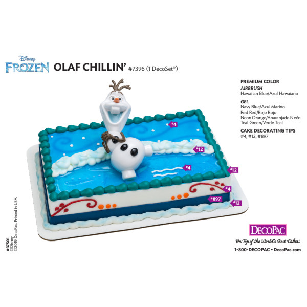 Frozen Olaf Chillin' Cake Decorating Instruction Card
