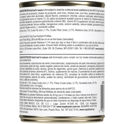 Labrador Retriever Adult Loaf in Sauce Canned Dog Food