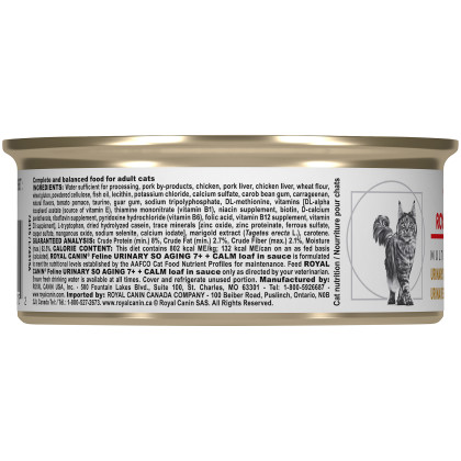 Royal Canin Veterinary Diet Feline Urinary SO Aging 7+ + Calm Canned Cat Food