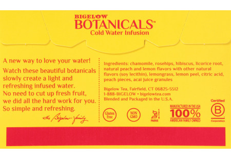 Back panel with ingredient list  of Botanicals Peach Lemonade Acai Cold Water Infusion box