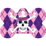Pink Argyle with Skull Large Bone Quick-Tag