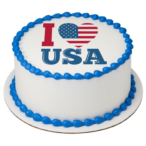 Celebrate America I Love USA PhotoCake® Edible Image®