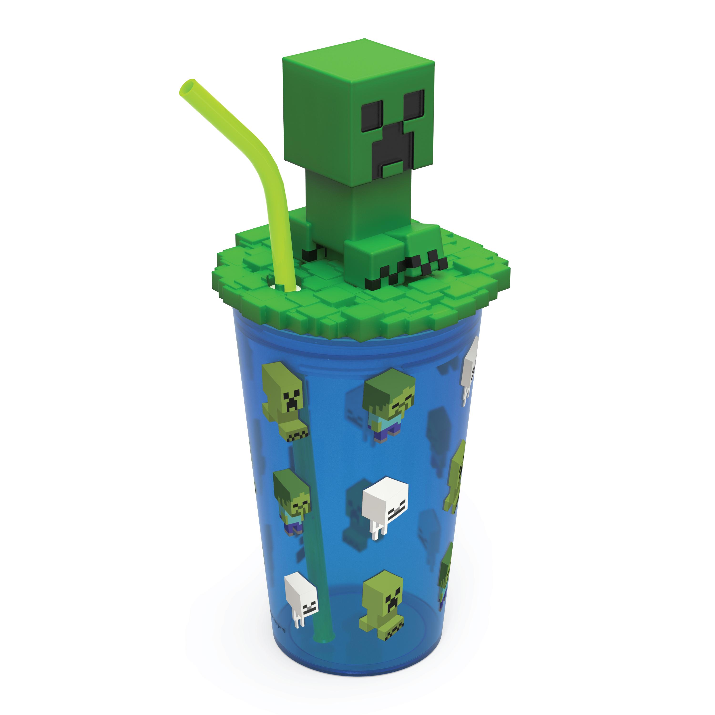 Minecraft 15 ounce Kids Tumbler, Creeper, 3-piece set slideshow image 7
