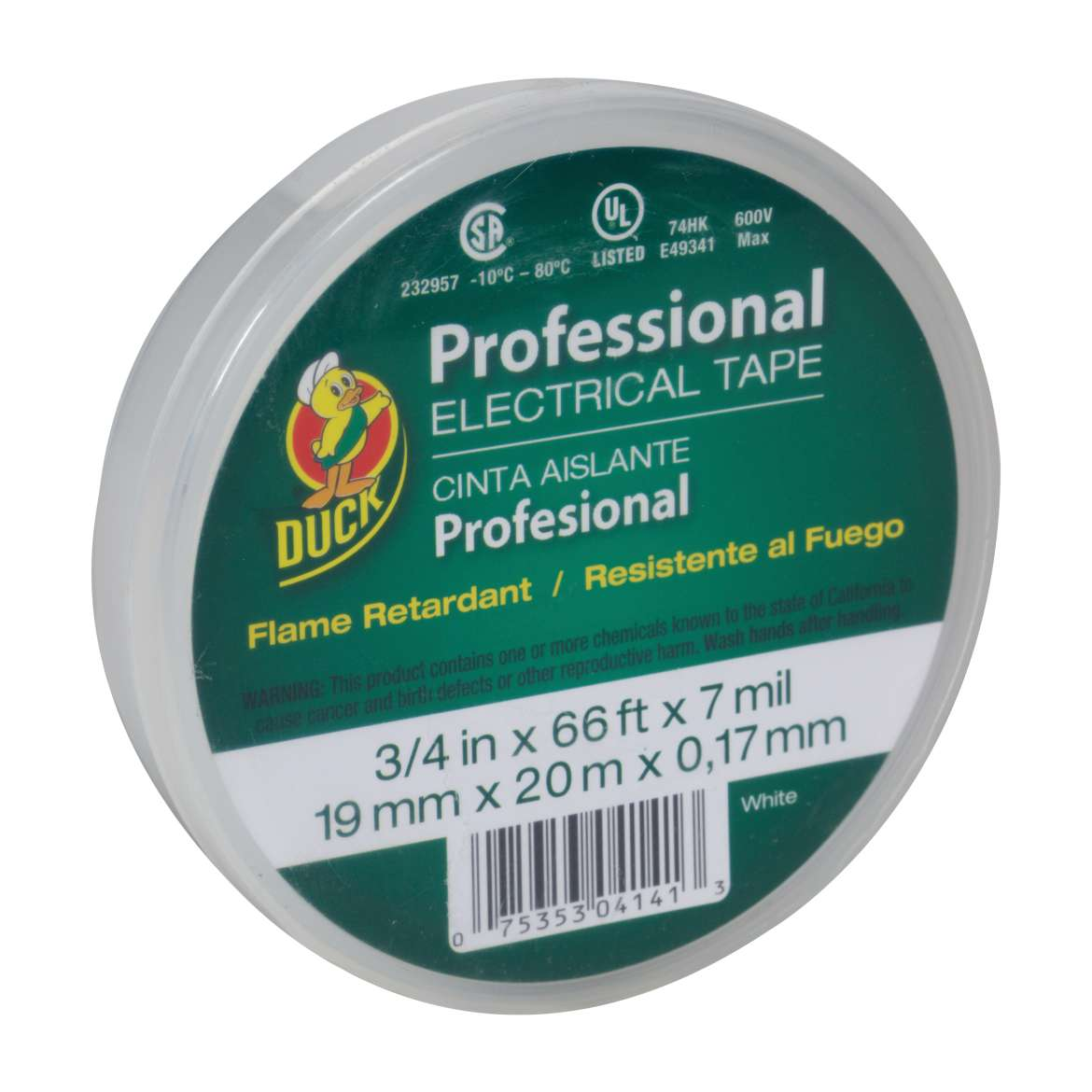 Duck® Brand Professional Electrical Tape Canister Pack - White, .75 in. x 66 ft. x 7 mil. Image