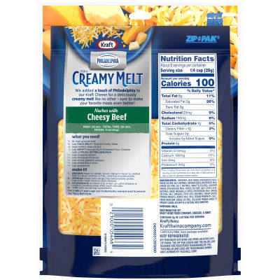 Kraft Shredded Mexican Style Four Cheese Blend with a Touch of Philadelphia 8 oz Pouch