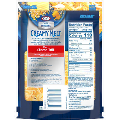 Kraft Three Cheese With A Touch Of Philadelphia Shredded Natural Cheese 8 oz Pouch