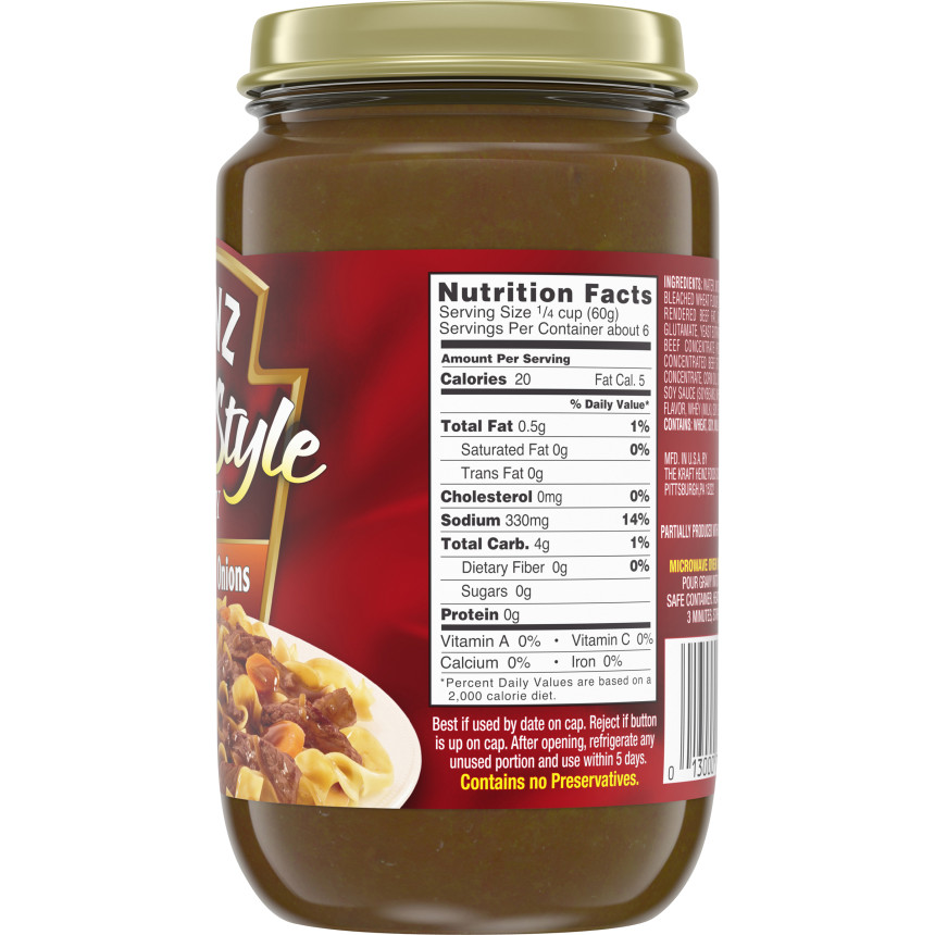 Heinz Home-style Brown Gravy with Onions, 12 oz Jar