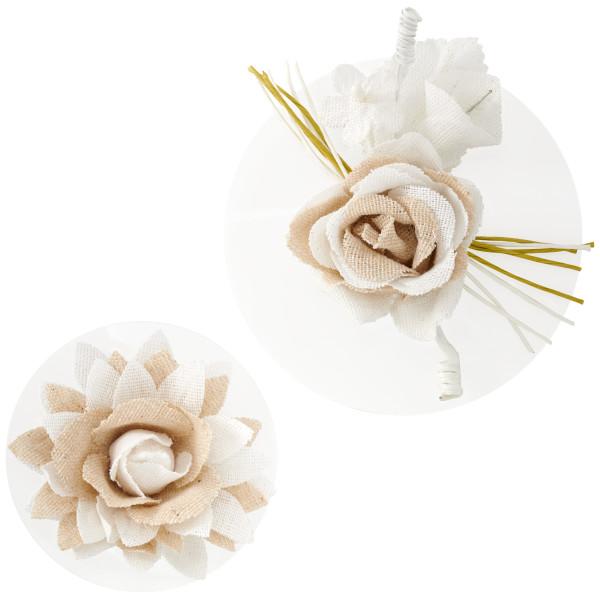 Burlap Flower Layon