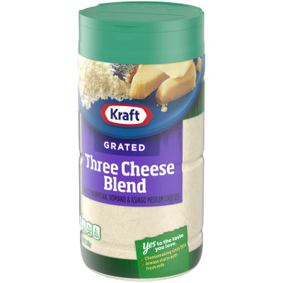 Kraft 100% Grated Three Cheese Blend Shaker, 8 oz Jar