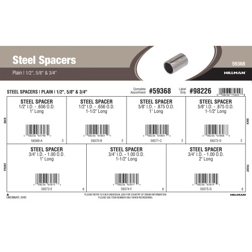 Plain Steel Spacers Assortment (1/2