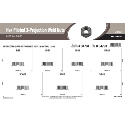 Hex Piloted 3-Projection Weld Nuts Assortment (#8-32 thru 1/2