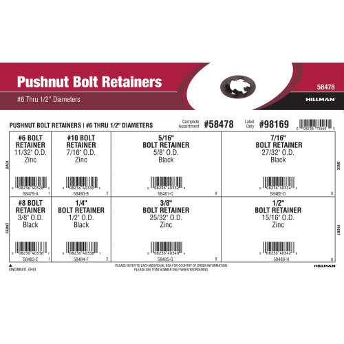 Pushnut Bolt Retainers Assortment (#6 thru 1/2