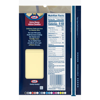 Kraft Slim Cut Extra Sharp White Cheddar 2 % Milk Natural Cheese Slices 17 slices - 7 oz Wrapper