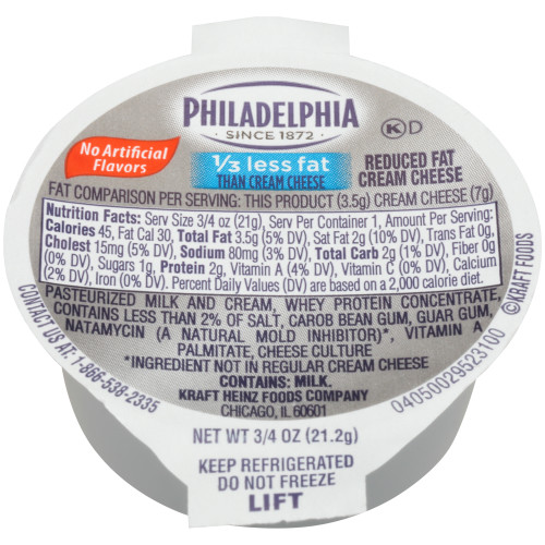 PHILADELPHIA Reduced Fat Cream Cheese Spread, 0.75 oz. Cup (Pack of 100)