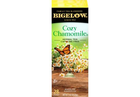 Left facing Cozy Chamomile Herbal Tea Box of 28 tea bags