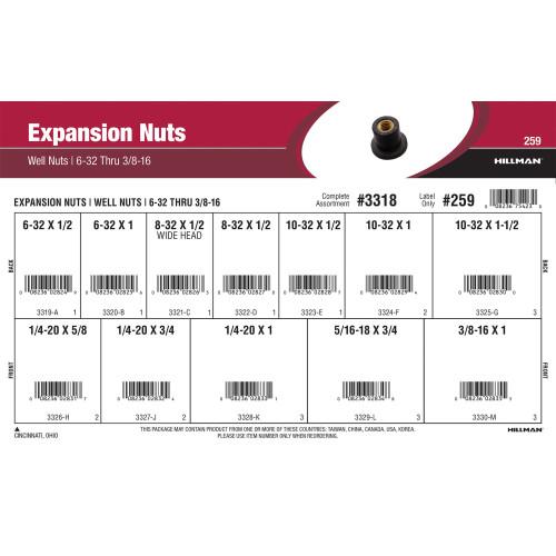 Expansion Nuts Assortment (#6-32 thru 3/8
