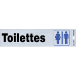 "French Adhesive Restrooms Sign (2"" x 8"")"