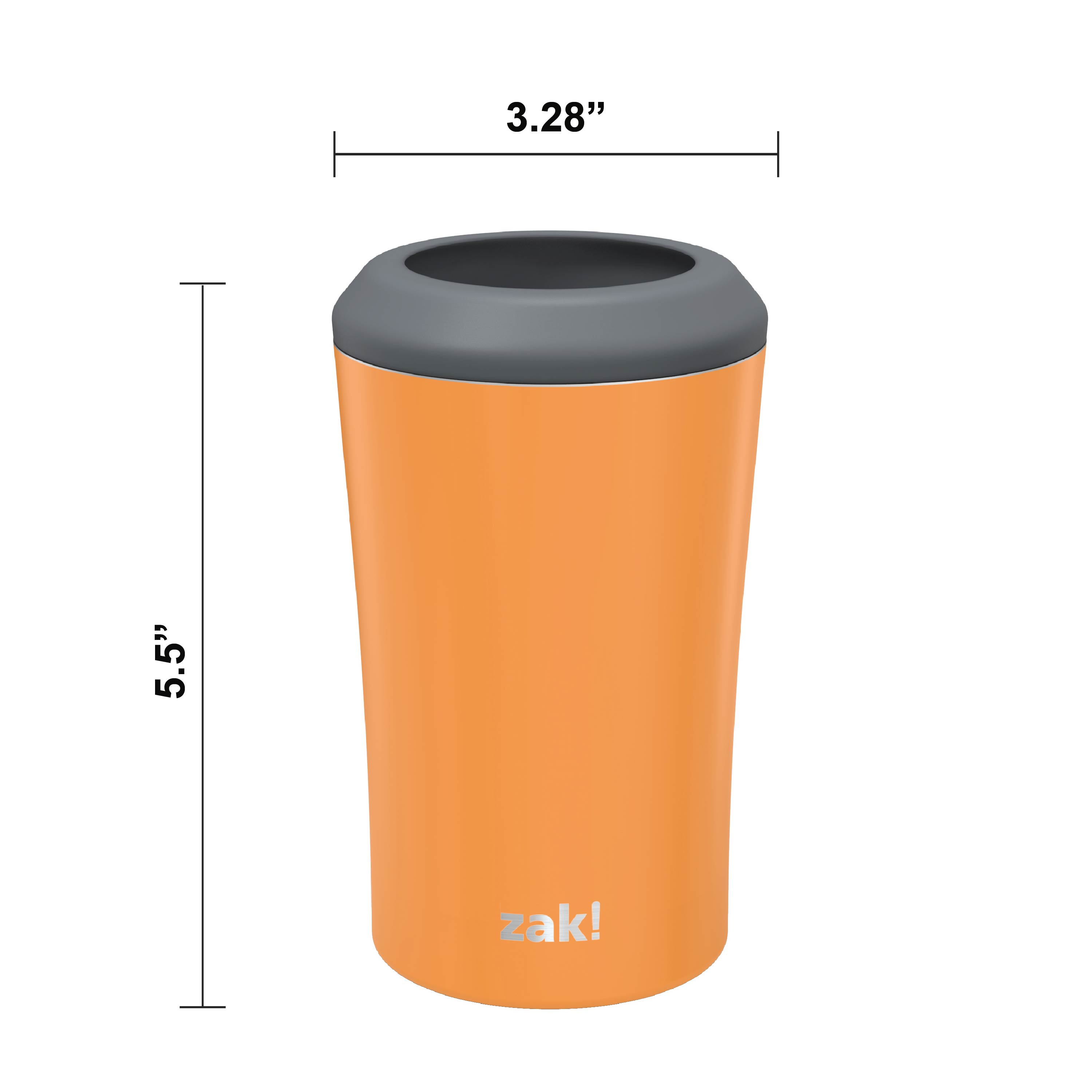 Zak Hydration 12 ounce Double Wall Stainless Steel Can and Bottle Cooler with Vacuum Insulation, Tangerine slideshow image 2