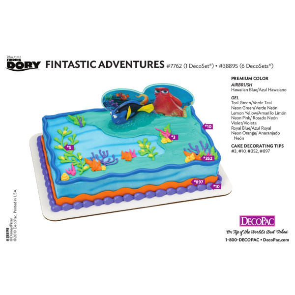 Finding Dory Fintastic Adventures Cake Decorating Instruction Card