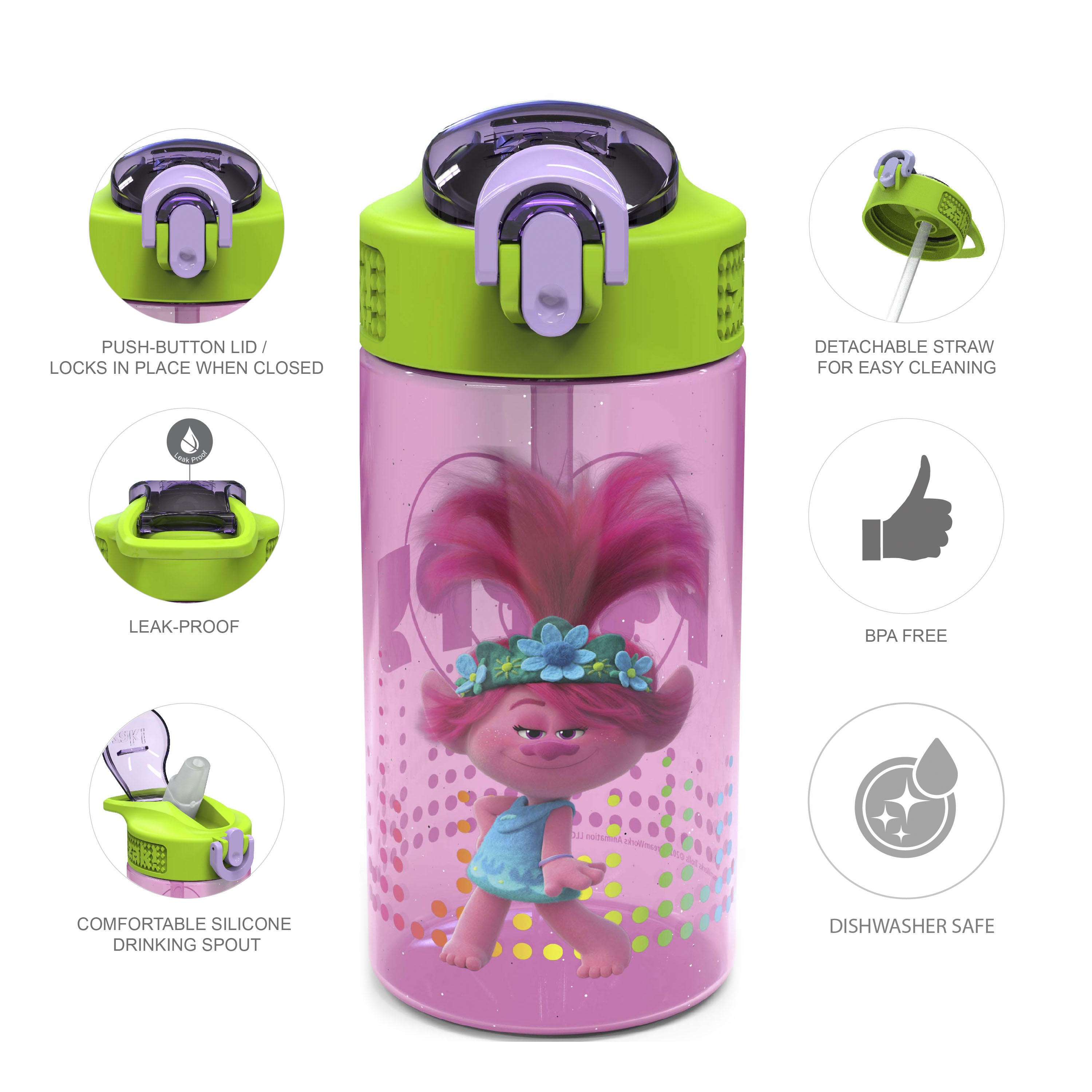 Trolls 2 Movie 16 ounce Reusable Plastic Water Bottle with Straw, Poppy, 2-piece set slideshow image 6