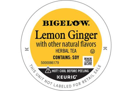 Lid of Bigelow Lemon Ginger Herbal Tea K-Cups for Keurig