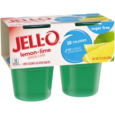 Jell-O Ready To Eat Lemon Lime Sugar Free Gelatin, 12.5 oz Sleeve (4 Cups)