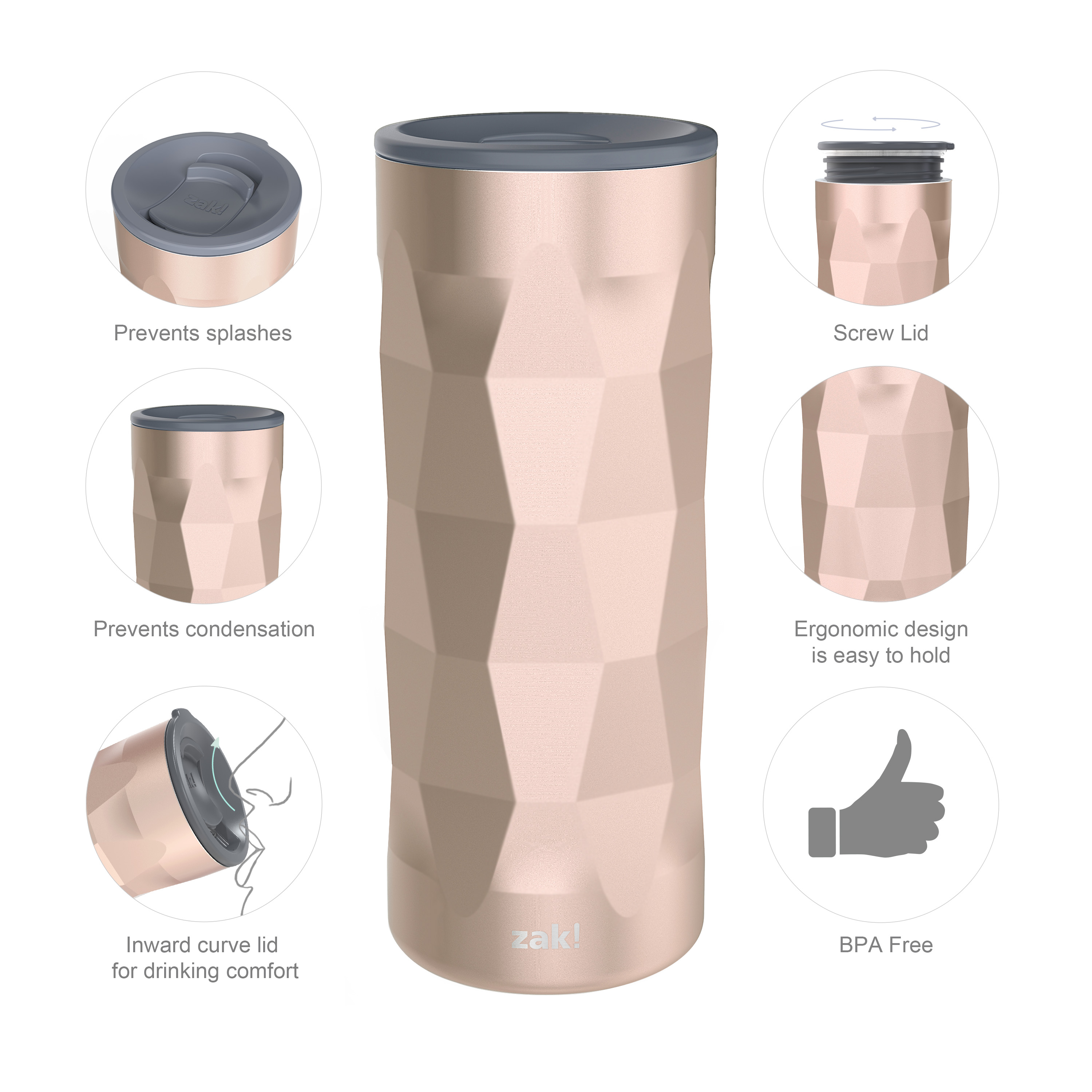 Fractal 16 ounce Vacuum Insulated Stainless Steel Tumbler, Rose Gold slideshow image 6