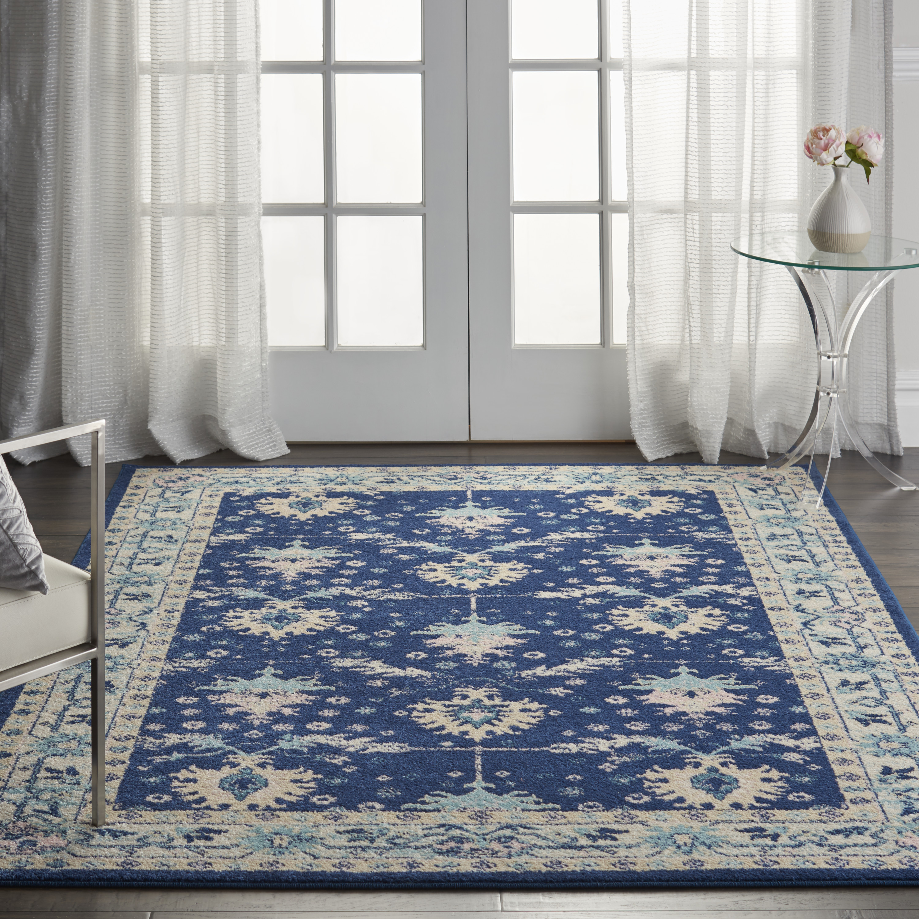 Nourison Tranquil TRA10 Navy Ivory Rug