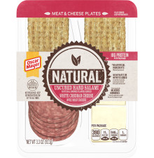 Oscar Mayer Natural Uncured Hard Salami & White Cheddar Meat & Cheese Plates Tray, 3.3 oz