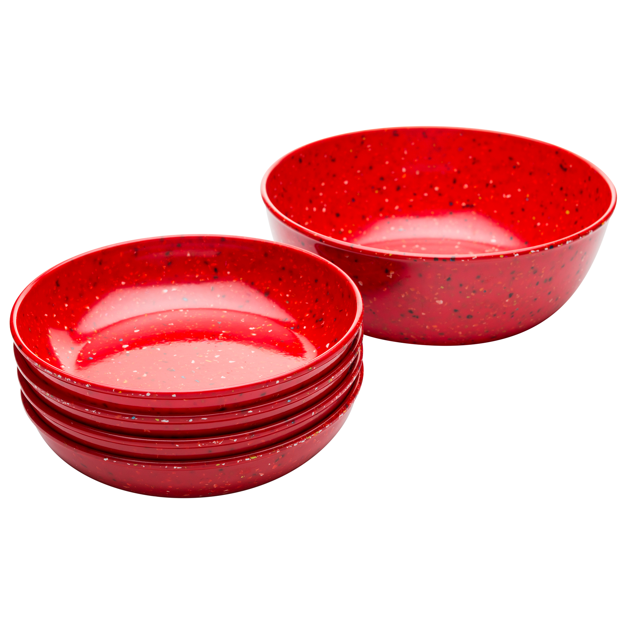 Confetti Pasta Bowl Set, Red, 5-piece set slideshow image 1
