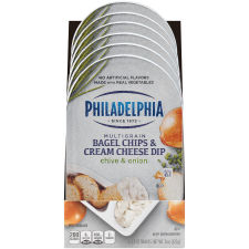 Philadelphia Bagel Chips and Chive & Onion Cream Cheese Dip 6 - 2.5 oz Packs